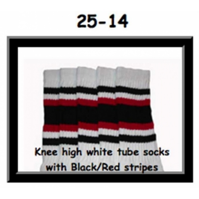 25 SKATERSOCKS white style 25-014 black/red stripes