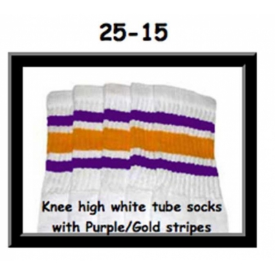 25 SKATERSOCKS white style 25-015 gold/purple stripes