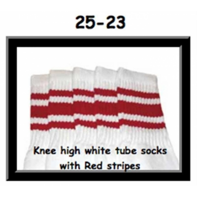25 SKATERSOCKS white style 25-023 red stripes