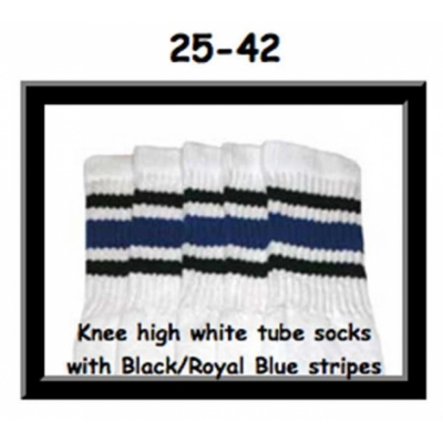 25 SKATERSOCKS white style 25-042 black/royalblue stripes