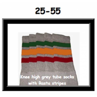 25 SKATERSOCKS grey style 25-055 rasta stripes