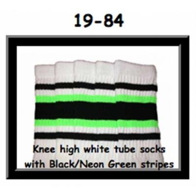 19 SKATERSOCKS white style 19-084 black/ neon green stripes