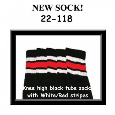 22 SKATERSOCKS black style 22-118 white/red stripes