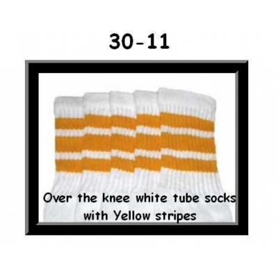 30 SKATERSOCKS white style 30-11 yellow stripes