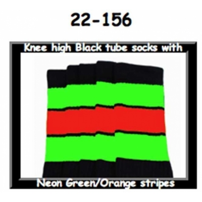 22 SKATERSOCKS black style 22-156 neon green/orange stripes