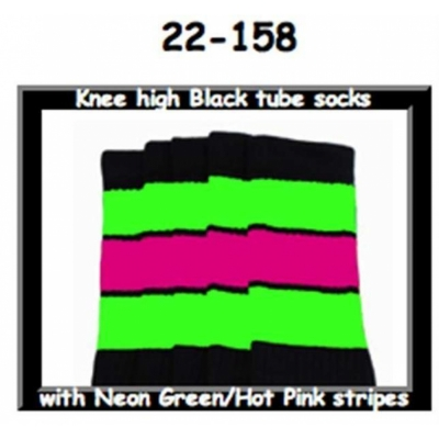 22 SKATERSOCKS black style 22-158 neon green/hot pink stripes