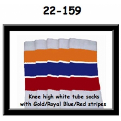 22 SKATERSOCKS white style 22-159 gold/royalblue/red stripes