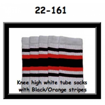 22 SKATERSOCKS white style 22-161 black/orange stripes