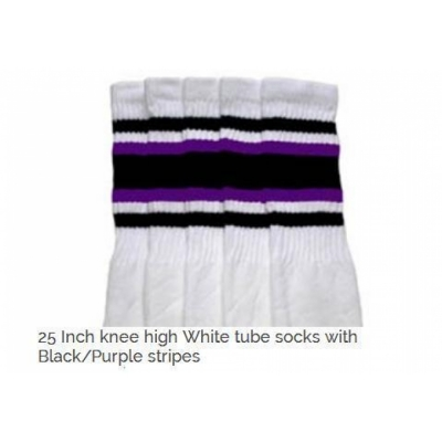 25 SKATERSOCKS white style 25-077 black/ purple stripes