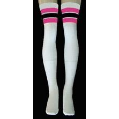 35 SKATERSOCKS white style 35-28 hot pink/black stripes