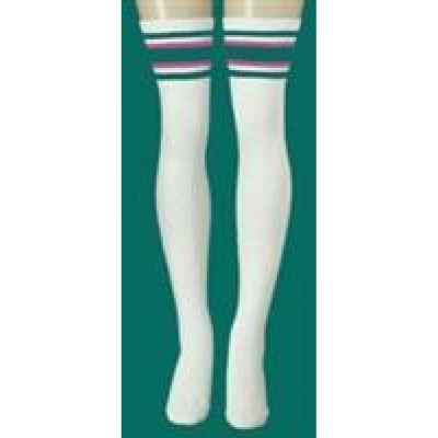 35 SKATERSOCKS white style 35-42 teal/hot pink stripes