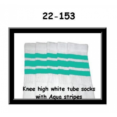 22 SKATERSOCKS white style 22-153 aqua stripes