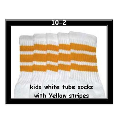10 SKATERSOCKS white style 10-02 yellow stripes