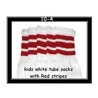 10 SKATERSOCKS white style 10-04 red stripes