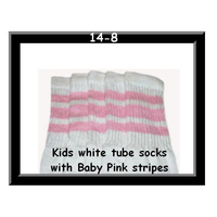 14 SKATERSOCKS white style 14-08 baby pink stripes