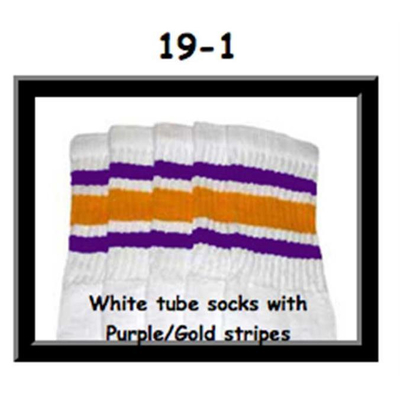 19 SKATERSOCKS white style 19-001 purple/gold stripes