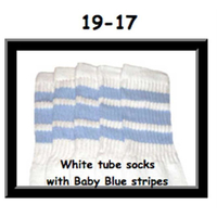 19 SKATERSOCKS white style 19-017 baby blue stripes