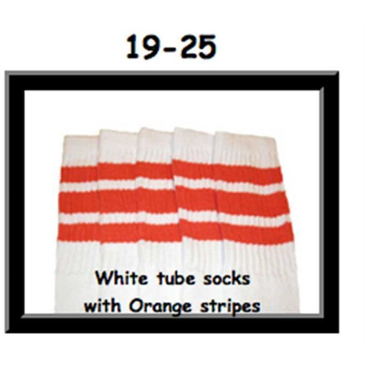 19 SKATERSOCKS white style 19-025 orange stripes