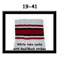 19 SKATERSOCKS white style 19-041 black/red stripes