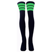 35 SKATERSOCKS black style 35-31 neon green stripes