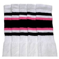 22 SKATERSOCKS white style 22-004 black/bubblegum pink...