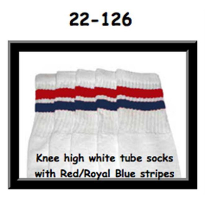 22 SKATERSOCKS white style 22-126 red / royal blue stripes