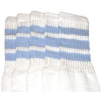 22 SKATERSOCKS white style 22-010 baby blue stripes