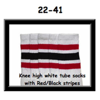 22 SKATERSOCKS white style 22-041 red/ black stripes