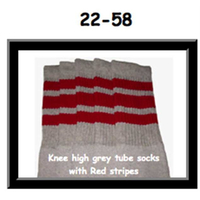 22 SKATERSOCKS grey style 22-058 red stripes
