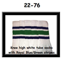 22 SKATERSOCKS white style 22-076 blue/green stripes