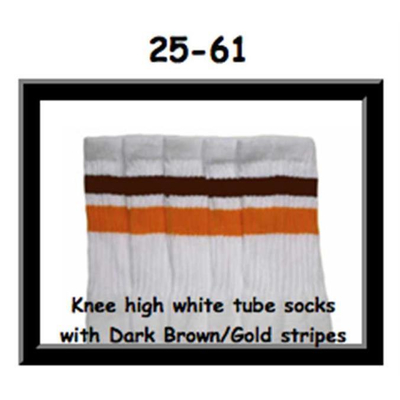 25 SKATERSOCKS white style 25-061 dark brown/gold stripes